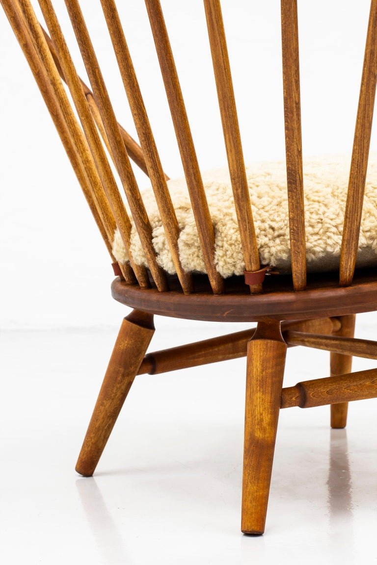 Swedish Lounge Chair with Sheep Skin Seat by Engström & Myrstrand, Sweden, 1950s For Sale
