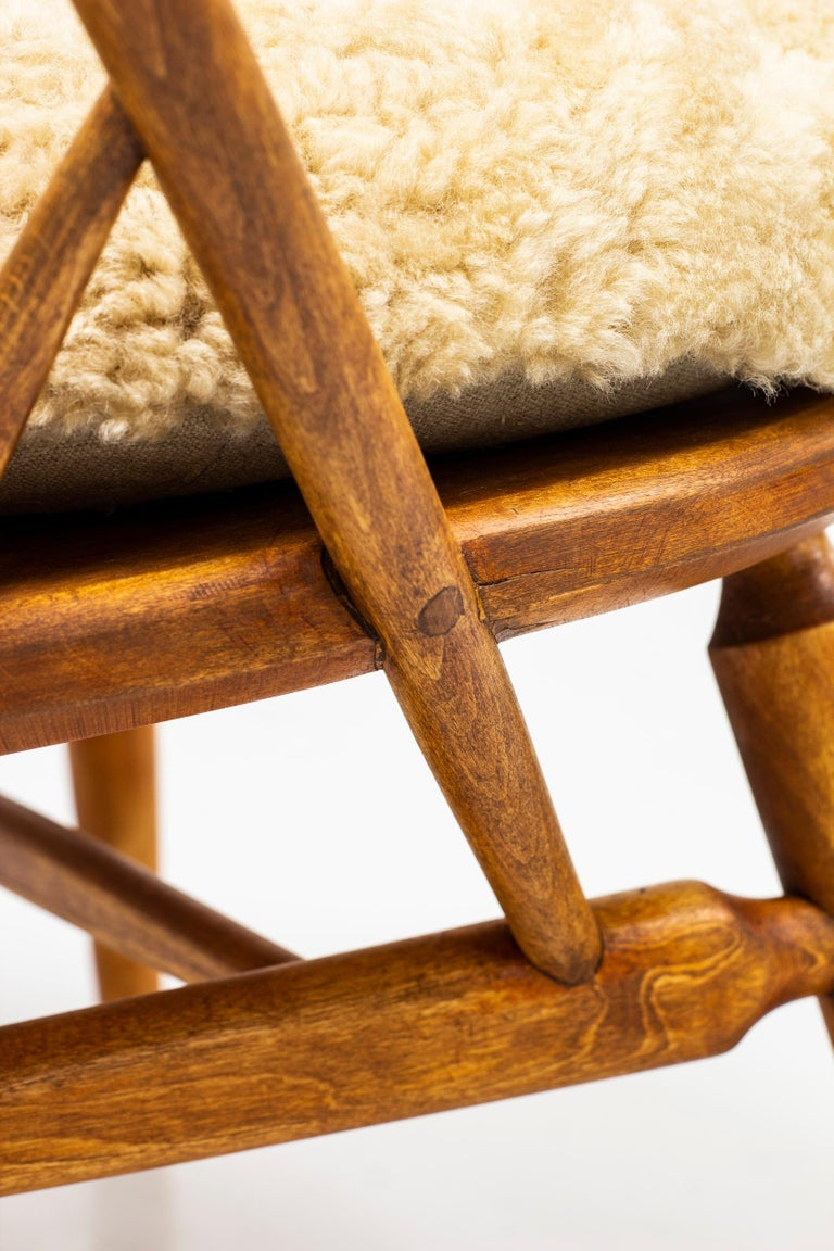 Leather Lounge Chair with Sheep Skin Seat by Engström & Myrstrand, Sweden, 1950s For Sale