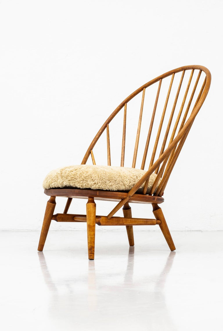 Lounge Chair with Sheep Skin Seat by Engström & Myrstrand, Sweden, 1950s For Sale 1