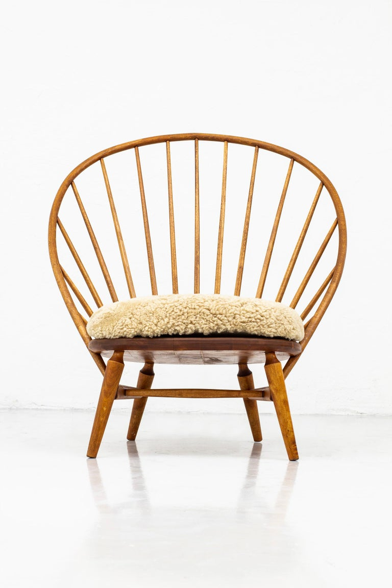Lounge Chair with Sheep Skin Seat by Engström & Myrstrand, Sweden, 1950s For Sale 2