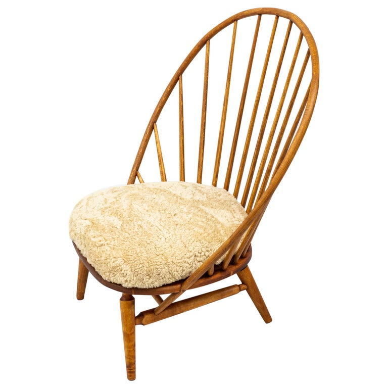 Lounge Chair with Sheep Skin Seat by Engström & Myrstrand, Sweden, 1950s For Sale
