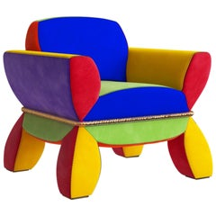 Lounge Chair with Solid Brass Detail and Red Yellow Blue Green Purple Suede