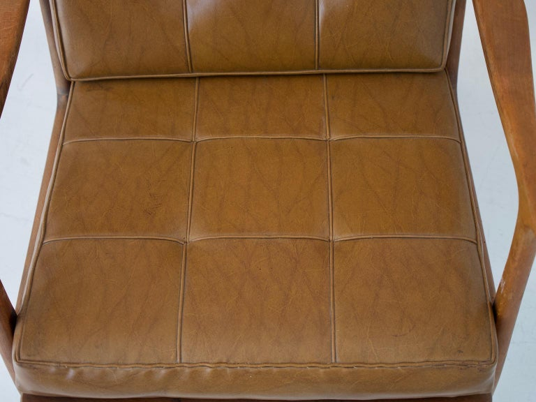 Lounge Chair with Wooden Frame and Brown Leather Cushions For Sale 2