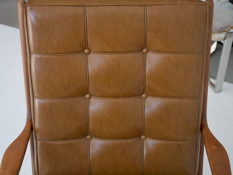 Lounge Chair with Wooden Frame and Brown Leather Cushions For Sale 3