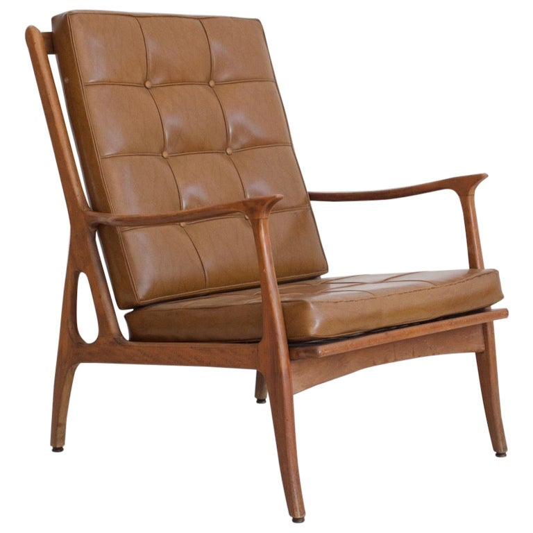 Lounge Chair with Wooden Frame and Brown Leather Cushions For Sale
