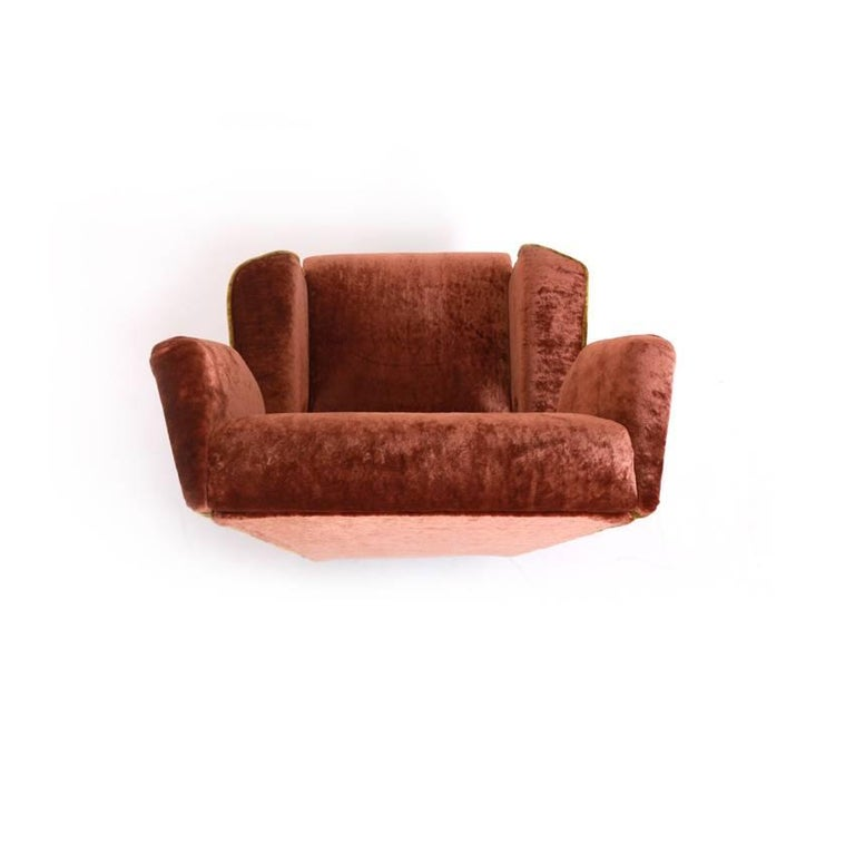 Fabric Lounge Chair, Italy, Mid-20th Century For Sale