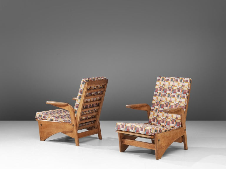 Gustave Gautier, pair of armchairs, oak and fabric, France, 1954
