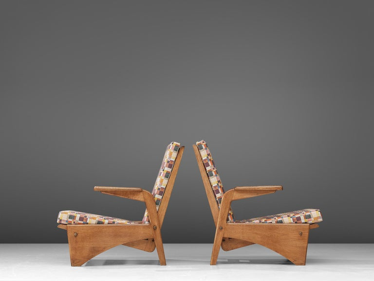 Mid-20th Century  Pair of Lounge Chairs by Gustave Gautier For Sale