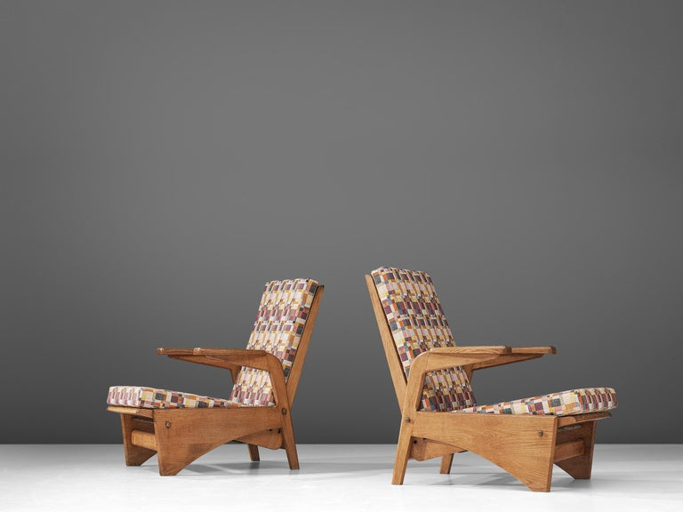Fabric  Pair of Lounge Chairs by Gustave Gautier For Sale