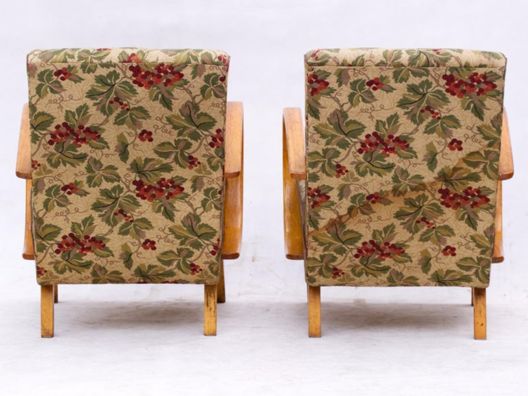 Czech Lounge Chairs by Jindrich Halabala for Up Zavody Brno, 1930s For Sale