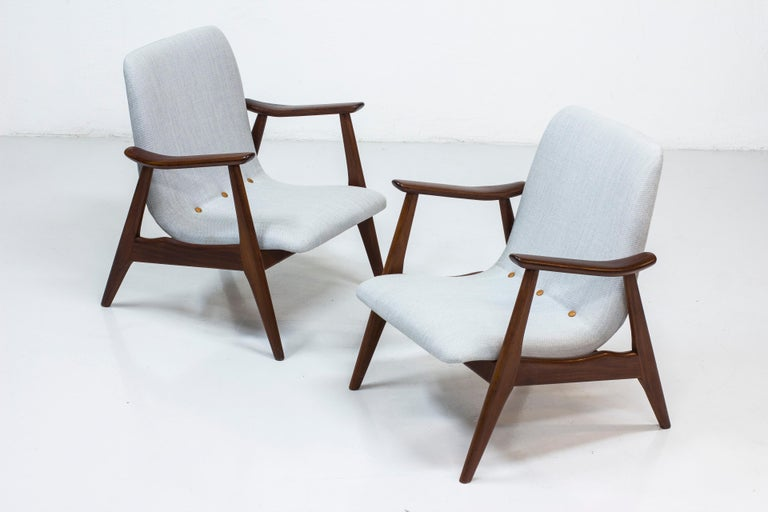 Lounge Chairs by Louis Van Teeffelen for WéBé, Netherlands, 1950s For Sale 7
