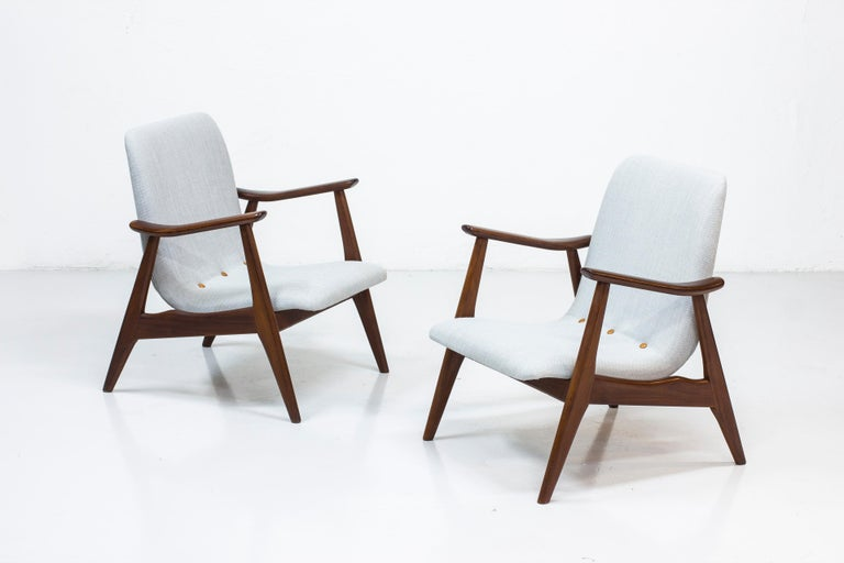 Dutch Lounge Chairs by Louis Van Teeffelen for WéBé, Netherlands, 1950s For Sale