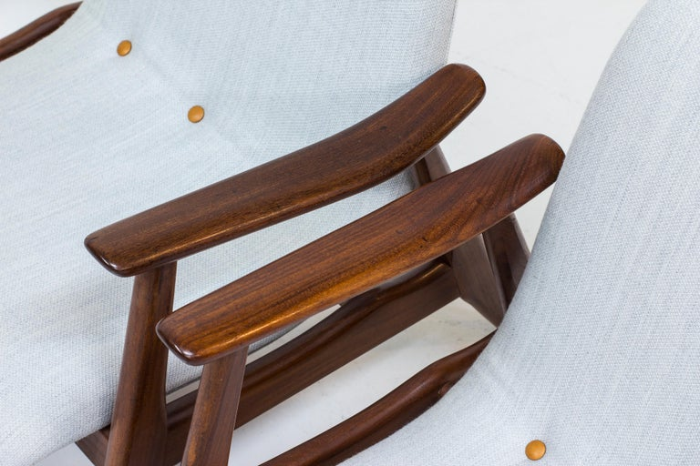 Leather Lounge Chairs by Louis Van Teeffelen for WéBé, Netherlands, 1950s For Sale