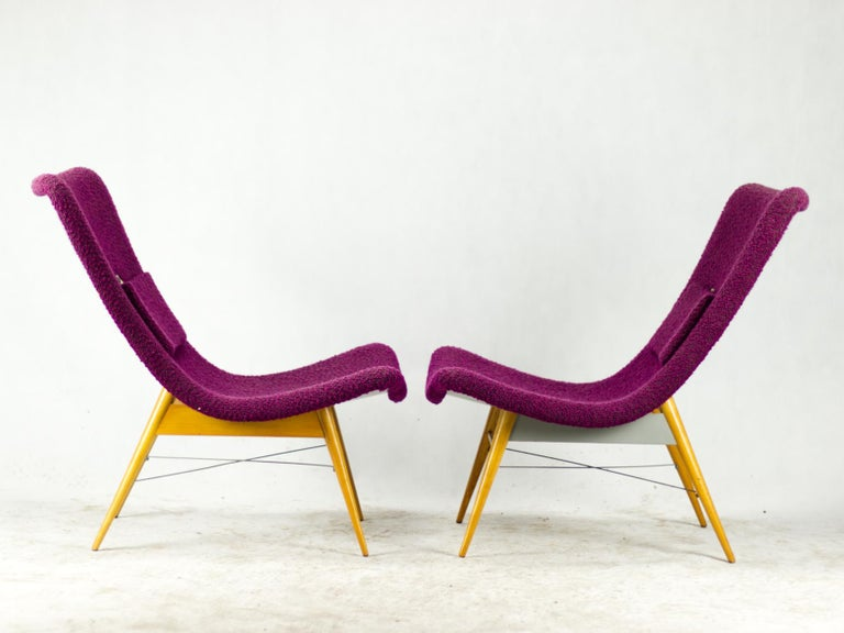 Mid-Century Modern Mid Century Lounge Chairs / Armchairs by M. Navrátil Czechoslovakia 1965 For Sale