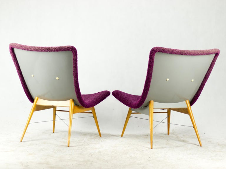Mid Century Lounge Chairs / Armchairs by M. Navrátil Czechoslovakia 1965 In Good Condition For Sale In Lucenec, SK