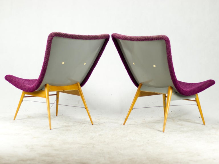 Upholstery Mid Century Lounge Chairs / Armchairs by M. Navrátil Czechoslovakia 1965 For Sale