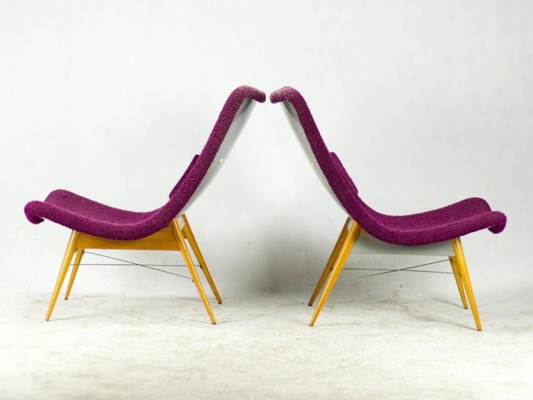 Mid Century Lounge Chairs / Armchairs by M. Navrátil Czechoslovakia 1965 For Sale 1