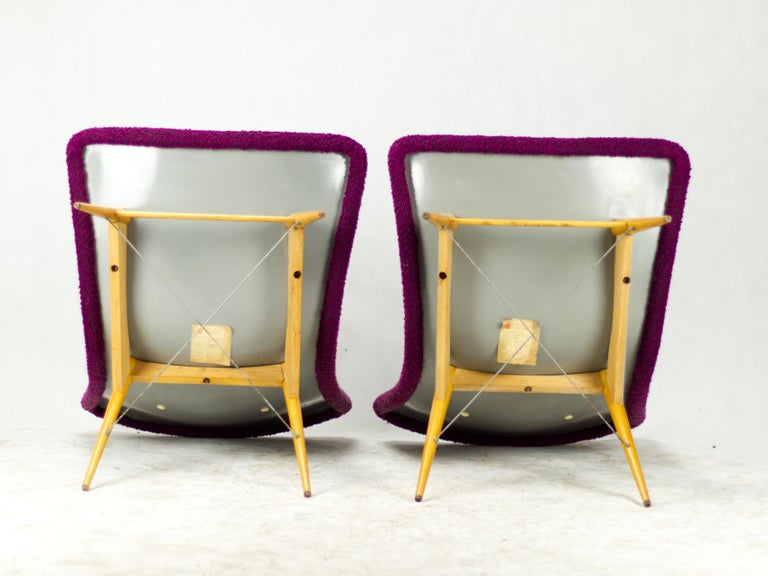 Mid Century Lounge Chairs / Armchairs by M. Navrátil Czechoslovakia 1965 For Sale 3