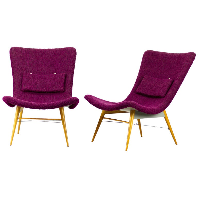 Mid Century Lounge Chairs / Armchairs by M. Navrátil Czechoslovakia 1965 For Sale