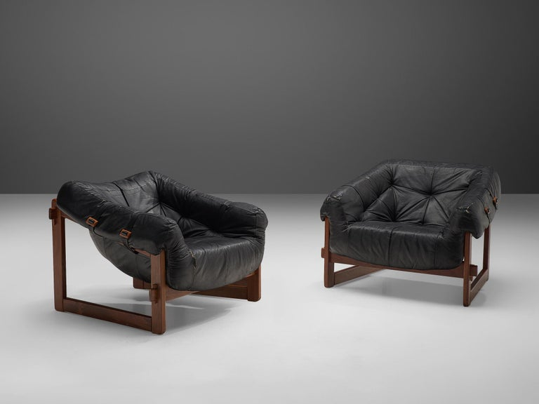 Brazilian Lounge Chairs by Percival Lafer in Original Black Leather For Sale