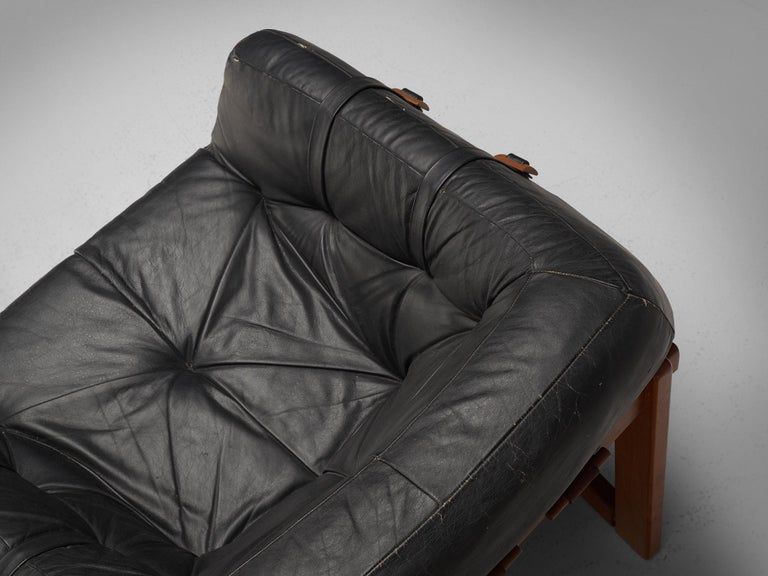 Lounge Chairs by Percival Lafer in Original Black Leather In Good Condition For Sale In Waalwijk, NL