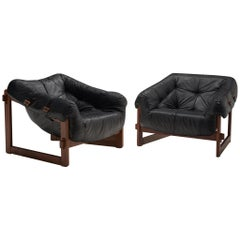 Lounge Chairs by Percival Lafer in Original Black Leather