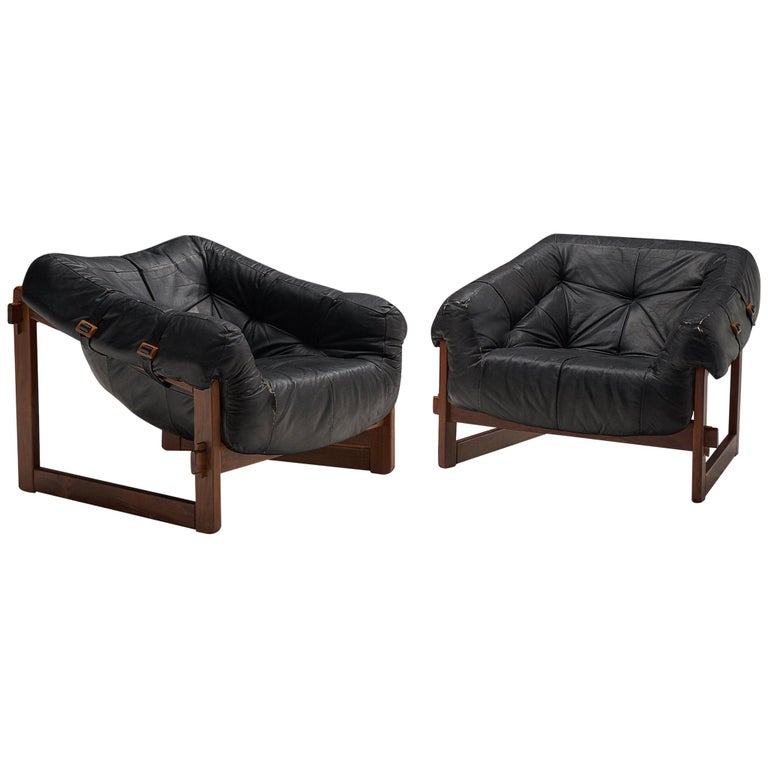 Lounge Chairs by Percival Lafer in Original Black Leather For Sale