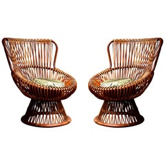Lounge Chairs in Rattan
