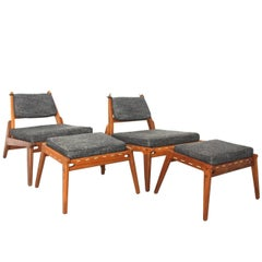 Mid Century Modern Oak Wood Vintage Lounge Chairs with Ottoman, circa 1960