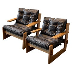 Lounge Chairs with Wood Buttons