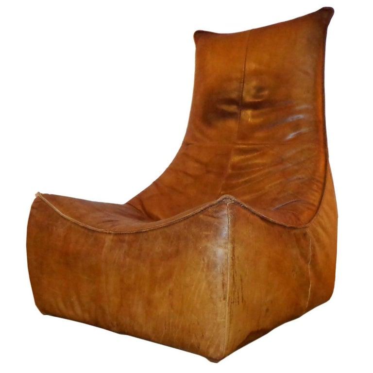 Lounge Club Chair in Cognac Leather by Gerard Van Den Berg for Montis 1970 Dutch