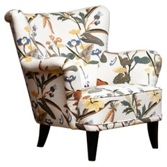 "Armchair Model ""Lalla"" by Ilmari Lappalainen For Asko Covered with Floral Print."