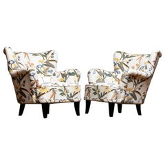 Lounge/Easy Chairs by Ilmari Lappalainen for Asko with Josef Frank Fabric, Pair