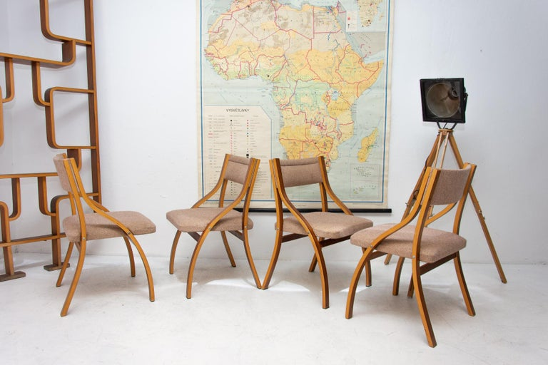 These lounge chairs were designed by Ludvík Volák for Drevopodnik Holešov. It was made in the former Czechoslovakia in the 1970´s. Features an upholstered seats and structure is made of mahogany bent plywood. In very good original condition, bears