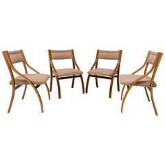 Lounge Mahogany Chairs by Ludvík Volák for Dřevopodnik Holešov, 1970s, Set of 4