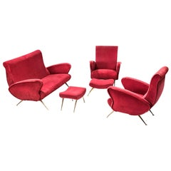 Lounge Set in Red Velvet and Brass