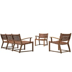 Lounge Set with Cognac Leather Webbed Back and Seat