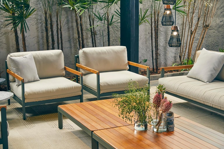 Lounge Style Minimalist Armchair, Indoor or Outdoor, Hardwood, Metal and Rope For Sale 4