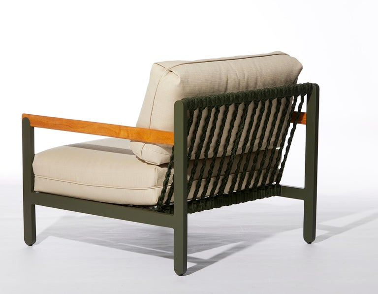 Modern Lounge Style Minimalist Armchair, Indoor or Outdoor, Hardwood, Metal and Rope For Sale