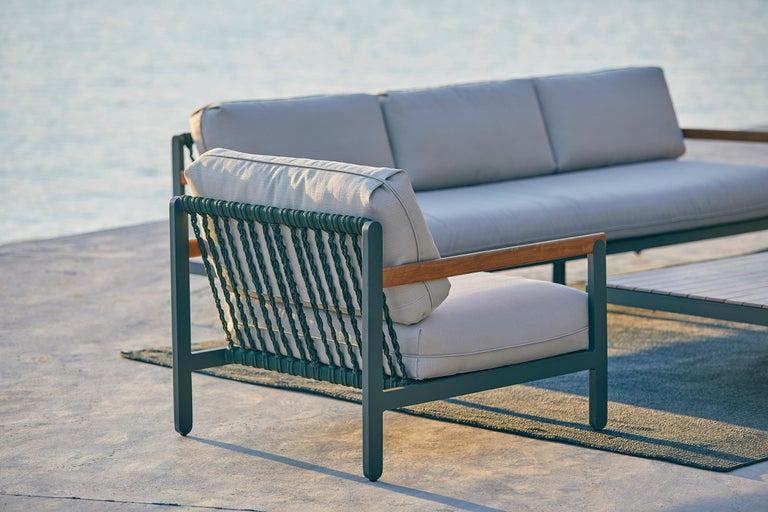 Brazilian Lounge Style Minimalist Armchair, Indoor or Outdoor, Hardwood, Metal and Rope For Sale