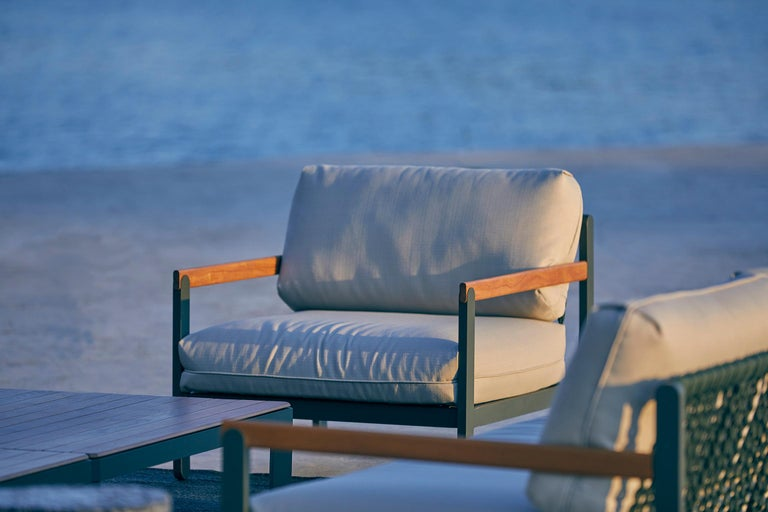 Lounge Style Minimalist Armchair, Indoor or Outdoor, Hardwood, Metal and Rope In New Condition For Sale In Sao Paolo, SP
