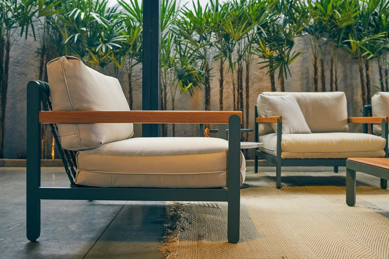 Lounge Style Minimalist Armchair, Indoor or Outdoor, Hardwood, Metal and Rope For Sale 2