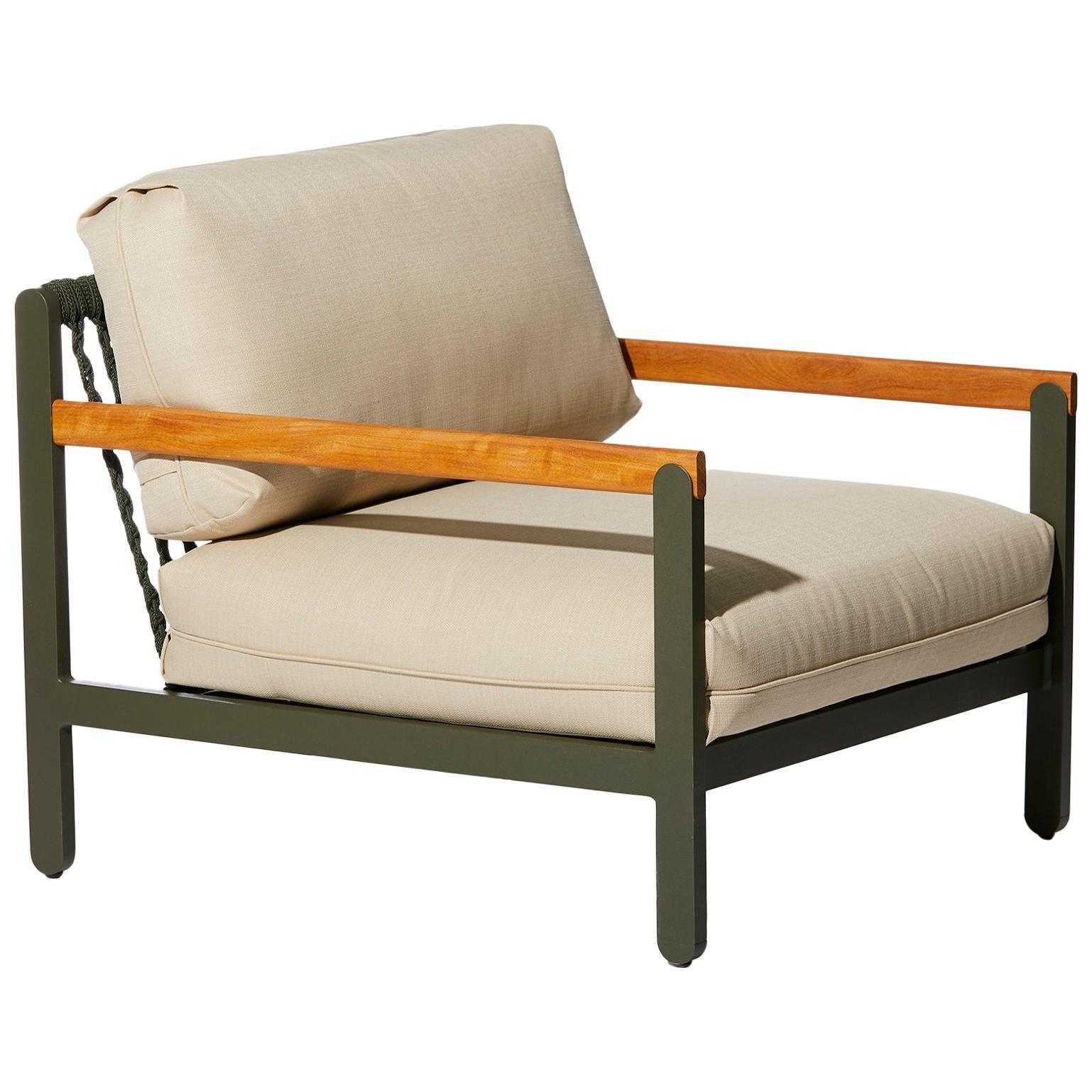 Lounge Style Minimalist Armchair, Indoor or Outdoor, Hardwood, Metal and Rope