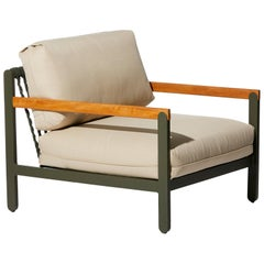 Lounge Style Minimalist Armchair, Indoor or Outdoor, Hardwood, Metal and Rope
