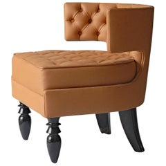 Lounge Tufted Armchair, Italian Fiore Leather, Black Lacquered Ponti Style Legs