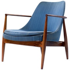 Loungechair in Walnut and Fabric Attributed to Ib Kofod-Larsen, Denmark, 1960s