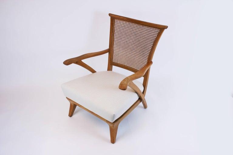 Mid-Century Modern Lounge Chair or Armchair Wood Design Style Kagan Wickerwork Vienna Austria 1950s For Sale