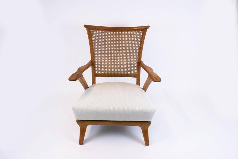 Lounge Chair or Armchair Wood Design Style Kagan Wickerwork Vienna Austria 1950s In Good Condition For Sale In Vienna, AT