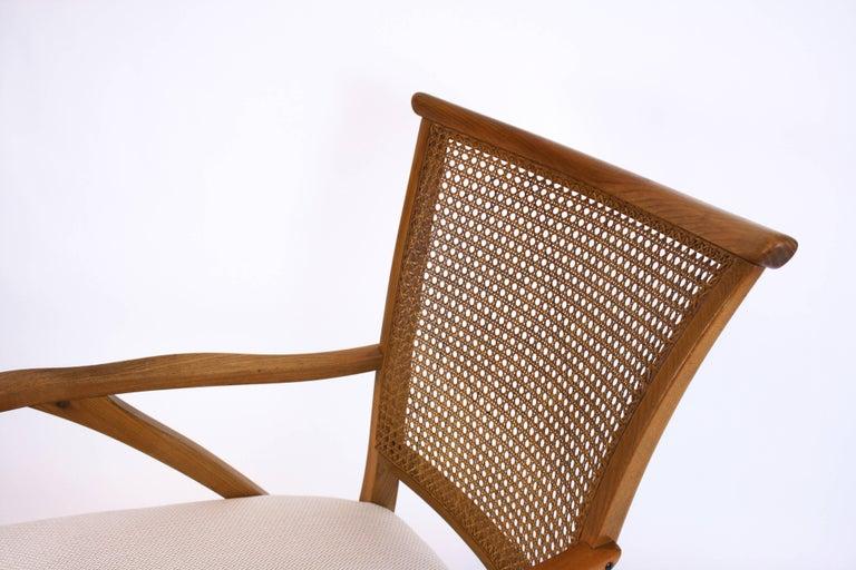 Mid-20th Century Lounge Chair or Armchair Wood Design Style Kagan Wickerwork Vienna Austria 1950s For Sale
