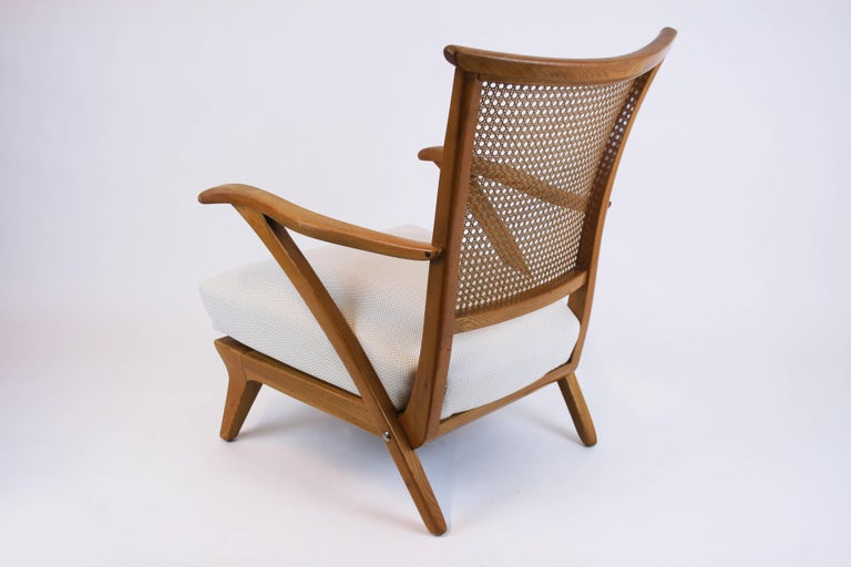 Lounge Chair or Armchair Wood Design Style Kagan Wickerwork Vienna Austria 1950s For Sale 3